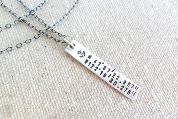 Latitude Longitude Jewelry | Coordinates Necklace | Latitude Longitude Necklace | Silver Bar Necklace | Anchor Jewelry | Engraved Jewelry