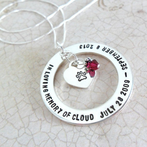 Custom Pet Necklace | Pet Memorial Necklace | Paw Print Jewelry | Gift for Pet Mom | In Memory Jewelry | Loss Jewelry | Commemoration