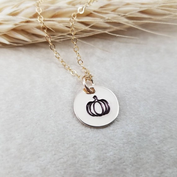 Pumpkin Necklace   Pumpkin Jewelry   Autumn Necklace   Fall Jewelry   14k Gold Filled   Hand-stamped jewelry   Harvest Jewelry   Halloween