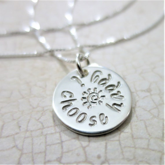 Ready to Ship | I Choose Happy Necklace | Inspirational Jewelry | Sterling Silver | Hand Stamped | Motivational Quote