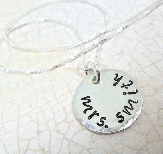 Custom Mrs. Necklace | Personalized Mrs. Jewelry | Custom Name Jewelry | Sterling Silver Name Jewelry | Wedding Gift | Wedding Shower Gift