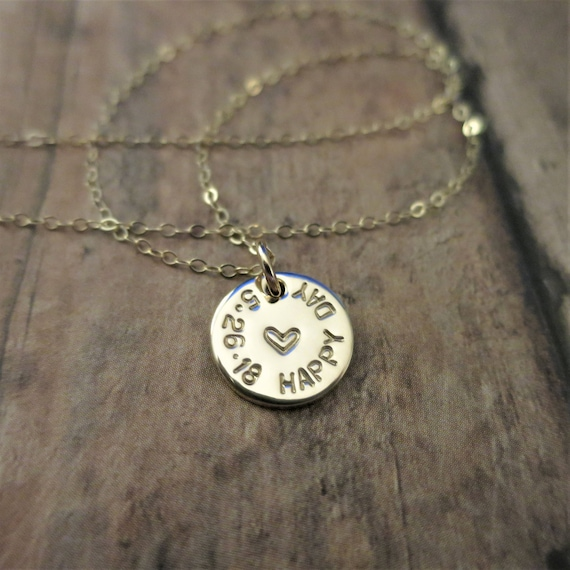 Wedding Day Necklace - Happy Day Necklace - Personalized Date Jewelry - Custom Date Necklace - 14k Gold Fill Pendant - Hand Stamped Jewelry