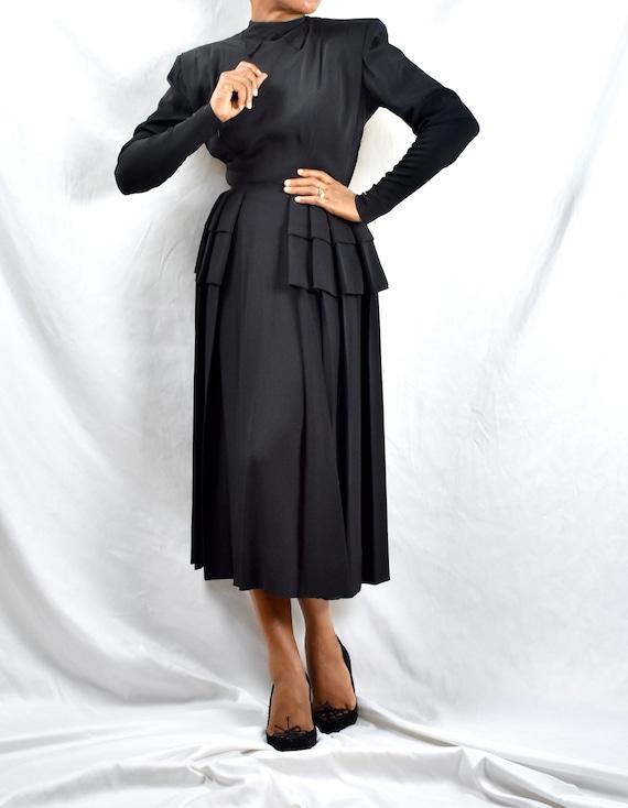 Vintage 1940s Nettie Rosenstein Black Peplum Dress
