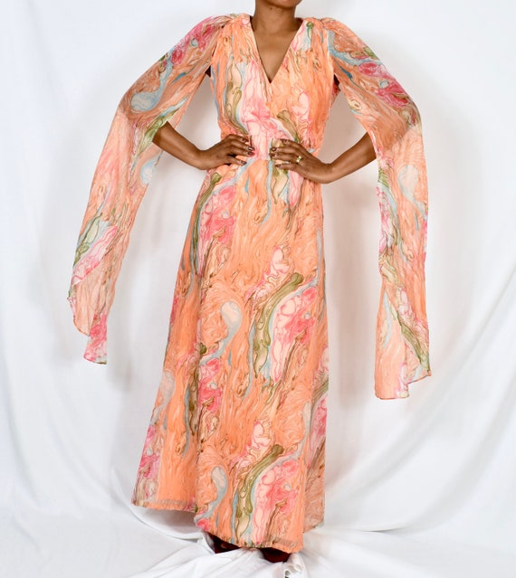 Vintage 1960s Marble Print Maxi Dress with Cape/Fl