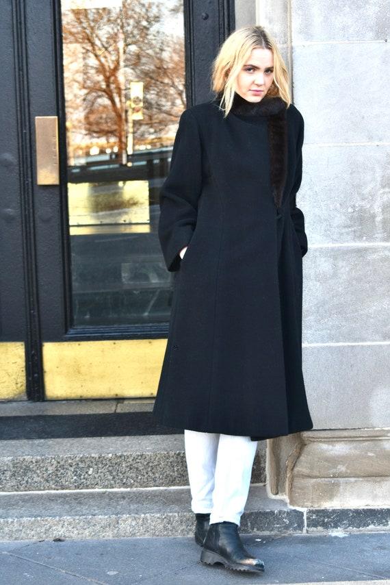 Vintage 1980s Pauline Trigere Black Wool Coat wit… - image 5