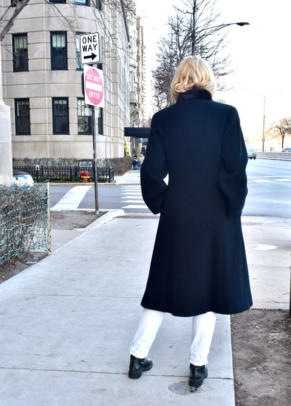 Vintage 1980s Pauline Trigere Black Wool Coat wit… - image 7