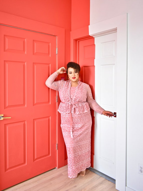 Plus Size Vintage Pink Lace Peplum Jacket and Dress Set Romantic Vintage  80s Dress Set
