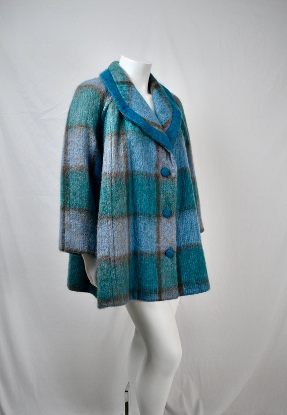 Vintage Irish Mohair and Wool Plaid Swing Coat wit