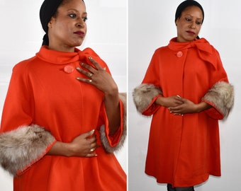 Vintage 60s Red Swing Coat with Fox Fur Cuffs