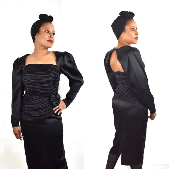 Vintage 80s Does 40s Black Peplum Dress with Peplu