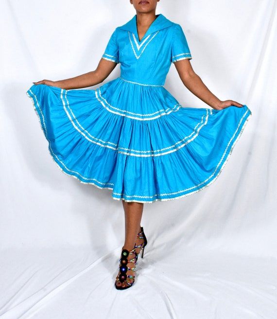 Vintage Patio Dress / Summer Dress in Turquoise an