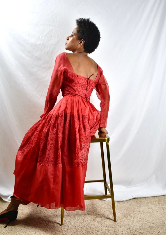 STUNNING - Vintage 1950s Red Chiffon Dress with Sh