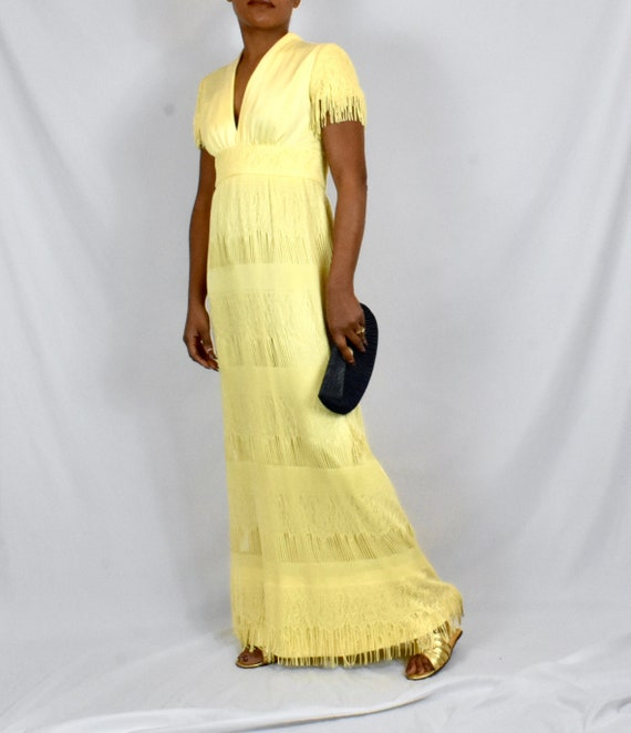 Vintage 1970s Yellow Lace Maxi Dress with Fringe