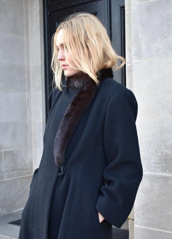 Vintage 1980s Pauline Trigere Black Wool Coat wit… - image 4