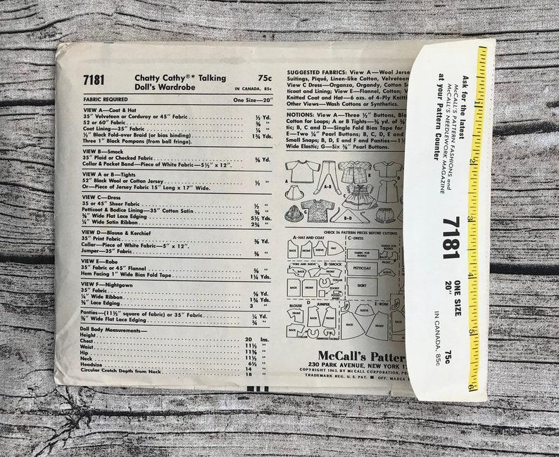Vintage 1960s Uncut McCalls 7181 Talking Doll Wardrobe Chatty Cathy Sewing Pattern