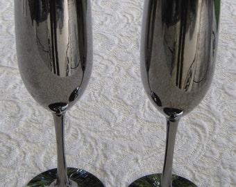 Platinum Toasting Flutes, Wedding Goblets, Silver- Black, Mirror