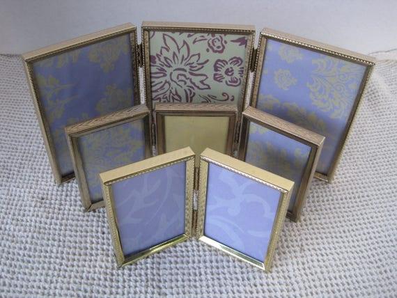 Vintage Tri Fold Metal Picture Frame Sets 3 Piece Set 3 Etsy