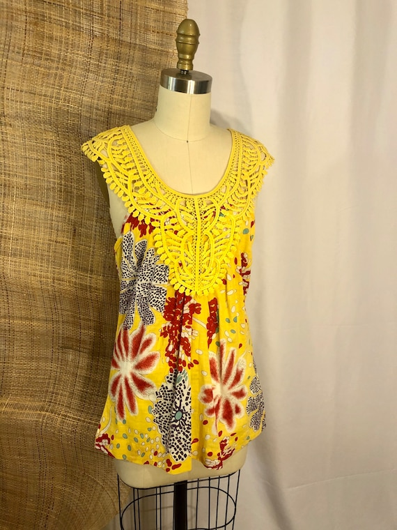 NWT Bright Yellow Sun Top with Lace Inset