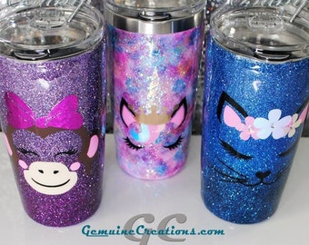 Custom Animal Face Cup Bottle Tumbler for Girls Baby Toddler - Stainless Steel Hand Painted with Glitter Name