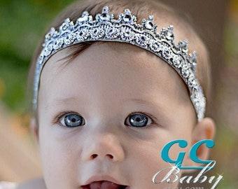 Bling Tiara Stretch Headband Silver Elastic Tiara Gold Sparkle Stretch Crown Birthday Girl Headband Cake Smash Photo Prop
