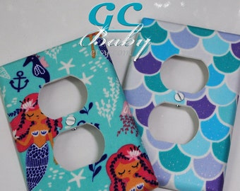 Mermaid Light Switch and Outlet Covers - Any cover style Pole, Rocker, Duplex, Toggle, Decorator or Combination