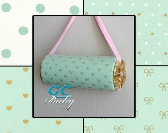 Standing or Hanging Custom Headband Holders - 4 Gold   Mint Green Fabrics  in Polka Dots 609e7588fcd59
