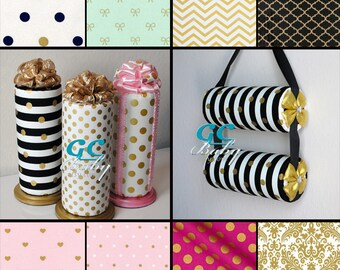 Metallic Gold Dot on Black White Stripe fabric Standing or Hanging Custom Headband Holders for Baby and Girls