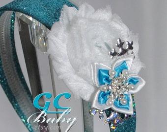 Snowflake Shabby Flower Hair Accessory - Light Pink, White, Silver, Rhinestones, Pearls - You Choose Hair Clip, Elastic Headband, Barrette