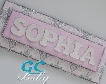 Damask Sparkle Upholstered Name Plaque - Door or Wall Hanging for Girls Room, Baby Nursery - Pink Grey White Damask, Glitter Silk