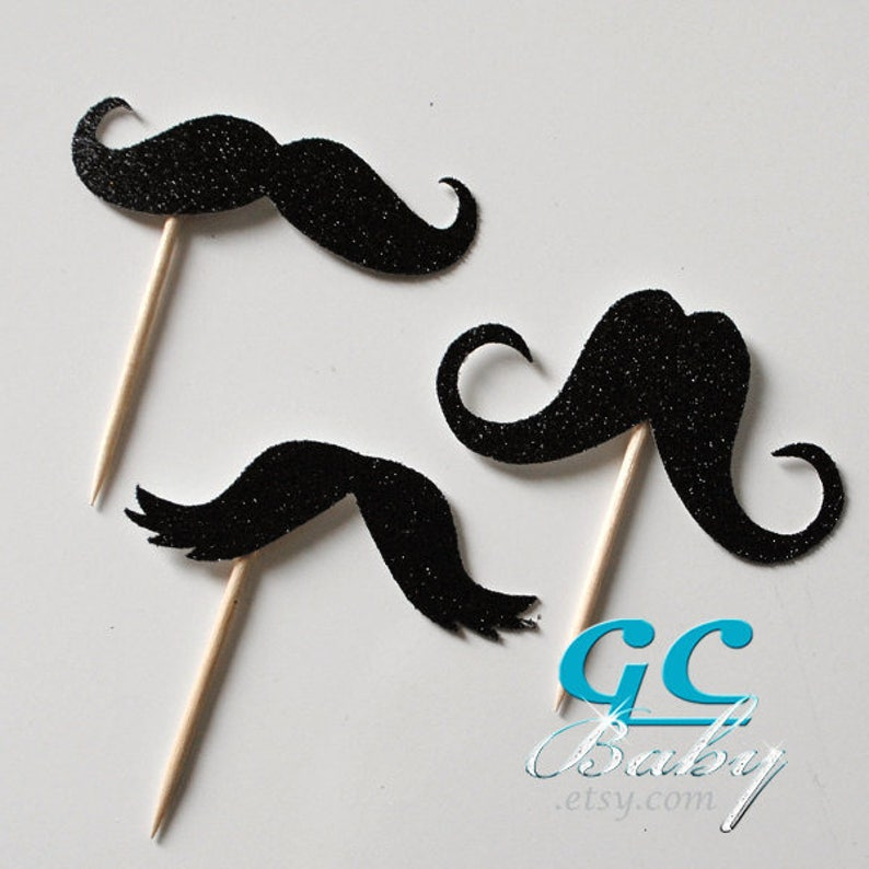 Centerpiece Picks Holographic Paper Metallic Cupcake Toppers Custom Mustache Party Decorations /& Decorations ANY Color in Glitter