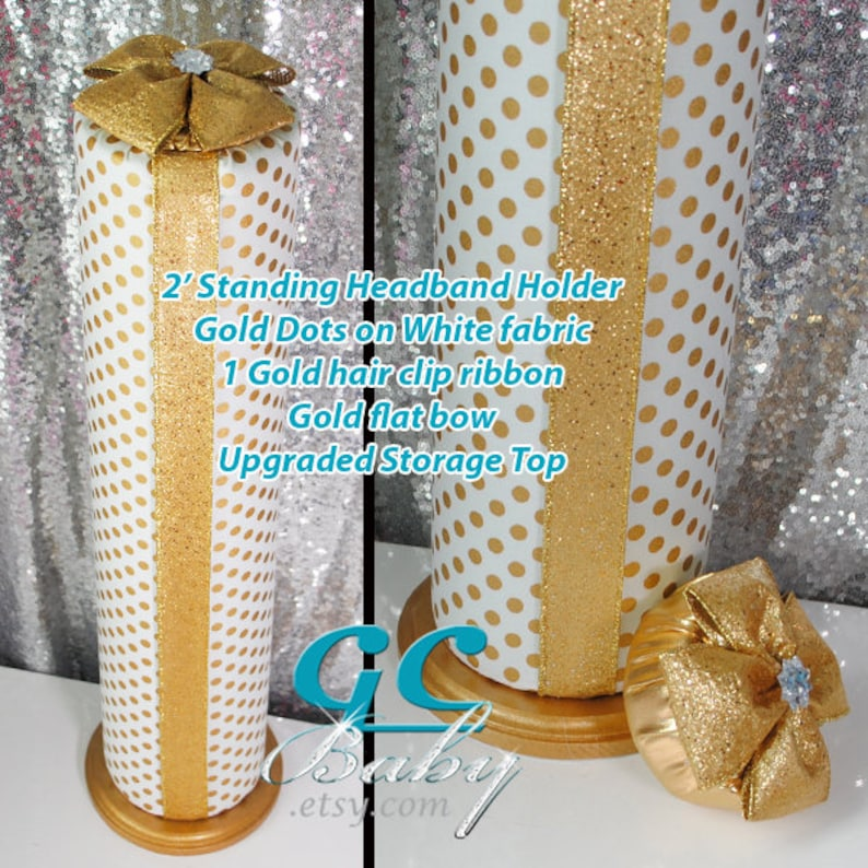 Baby and Girls Hair Accessory Organizer and Room Decor Metallic Gold Boutique Headband Holder Hanging or Standing