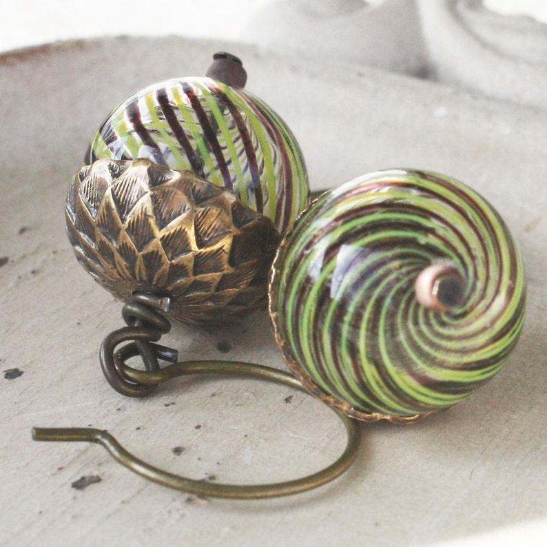 Acorn Earrings  Blown Glass Bead Earrings  Antiqued Brass image 0