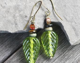 Forest Journey Glass Leaf Earrings - Antiqued Brass Findings, woodland earrings, woodland jewelry, leaf jewelry, green earrings