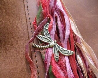 Dragonfly Tassel purse charm keychain zipper pull pinks and reds bronze dragonfly Swarovski garnet crystal tri side glass bead art ribbons