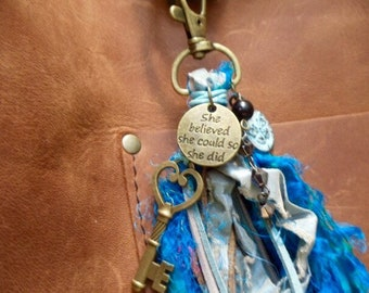 She Believed she Could So She did empowering charm turquoise patina butterfly disc mystery key black jet bead black bicone chain