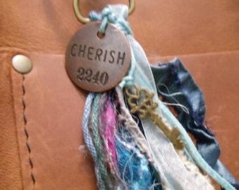 Cherish bronze charm tassel purse charm mystery  bronze key large midnight bead with crystals art ribbons art yarns recycled sari silk