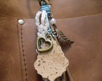 Soft Heart tassel charm shades of brown suede cream chenille faux pearl leaf cork shield with turquoise satin cord bronze heart