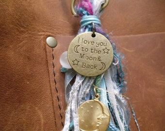 i Love You To The Moon And Back charm tassel bronze disc round moonstone bronze crescent moon with stars disc suede cords silk