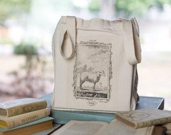 Sheep Tote, Organic Cotton Canvas Bag, Ewe Illustration, Animal bag, Market Tote