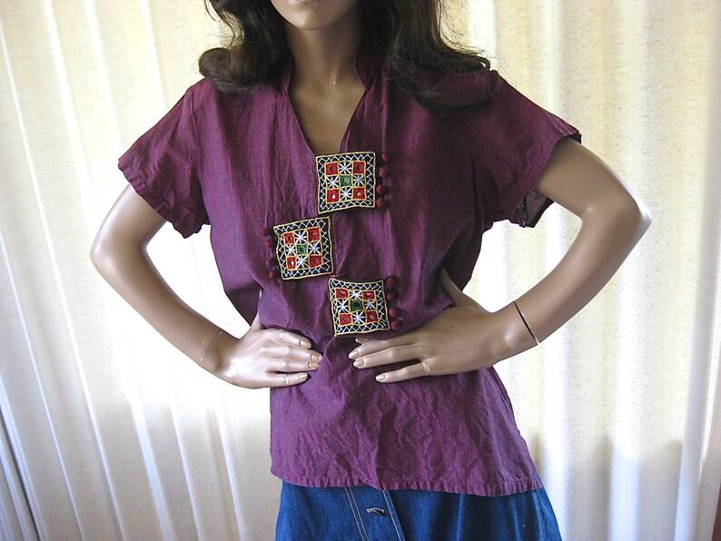 on sale Vintage Embellished BlouseIndian BlouseBoho ClothingEmbroidered BlouseMirrored ShirtBoho ShirtEthnic ClothingCotton Indian Bl