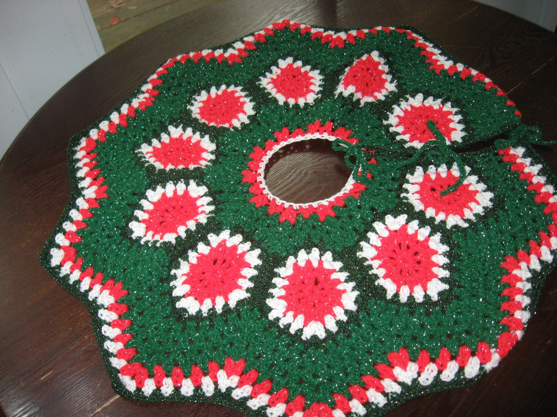 Handmade Christmas Tree Skirt Crochet Granny Square Skirt Size