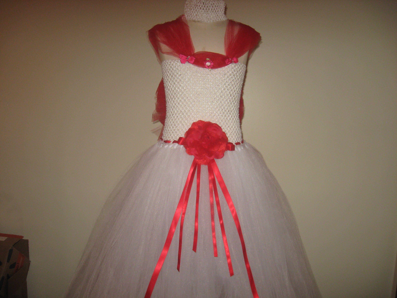 Girls Handmade Red And White Tutu Dress Flower Girl Dress Size 9