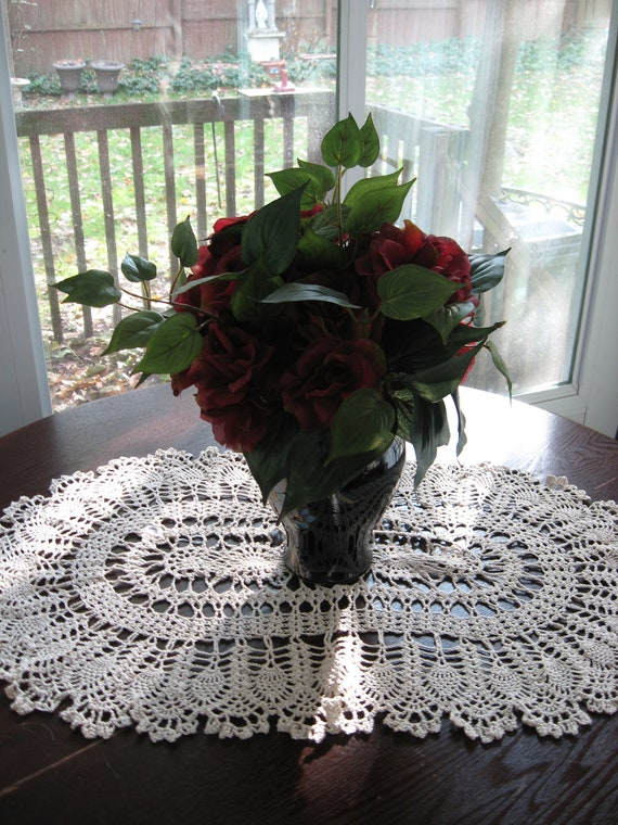 "Hand Crochet Large Oval Doily Size 19"" x 29"""