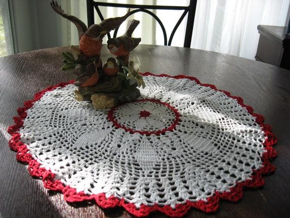 "Hand Crochet Diamond Design Doily,  Size 18"" Across"