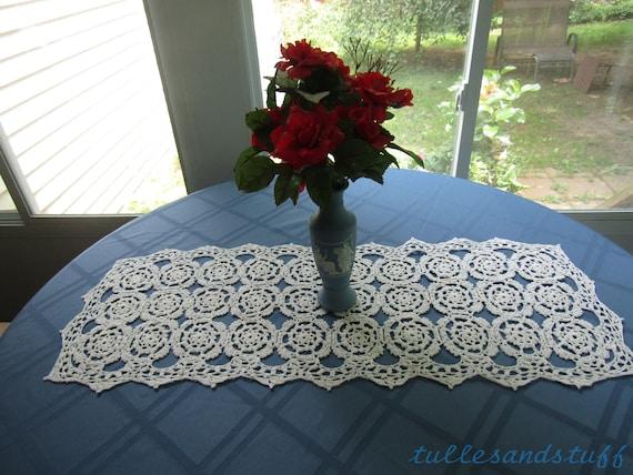 "Hand Crochet White Long Retangle Doily, Size 12"" Wide 32""Long"