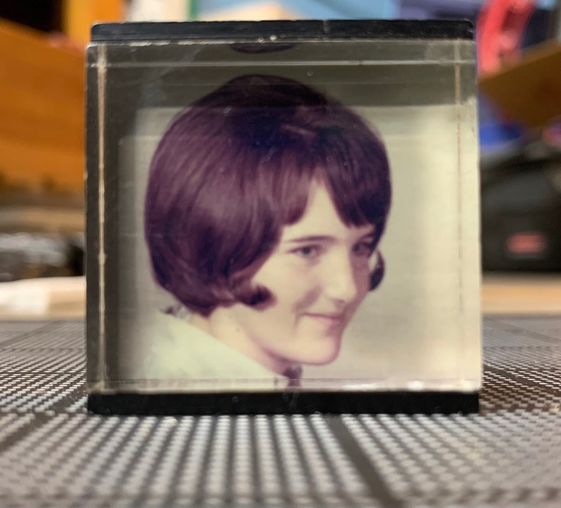 found photograph Original Vintage Photo Girl in Acrylic Cube -Texas Art Asylum Old photo Photograph Vintage Photo