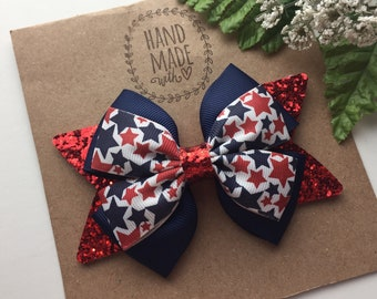 USA Stacked Boutique Red White /& Blue Hair Bow Toddler Girl Blue Glitter Star