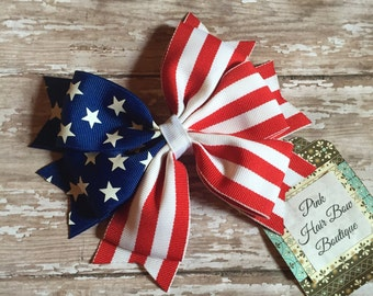 4th of July hair bow , patriotic hair bow ,  Stars and Stripes , 5 inch hair bow,  Fourth of July bow