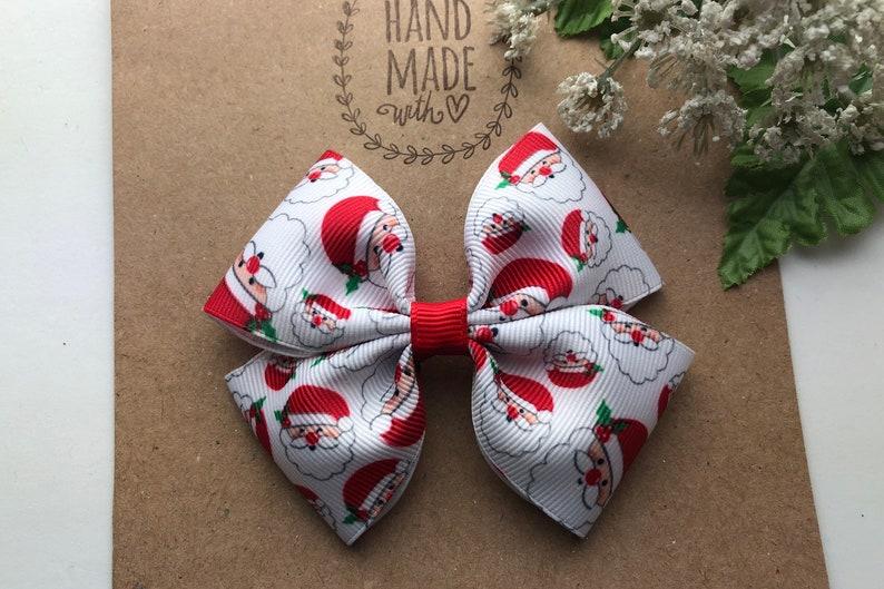 3\u201d  or 4\u201d  Christmas Hair Bow Cute Hair Bow Santa Hair Clip for Girls Santa Hair Bow Red White and Green Christmas Hair Bow