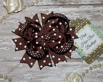 Brown Hair Bow, Brown swiss dot, Brown Bow, Brown Hair Clip, Brown hairbow, Brown boutique hair bow